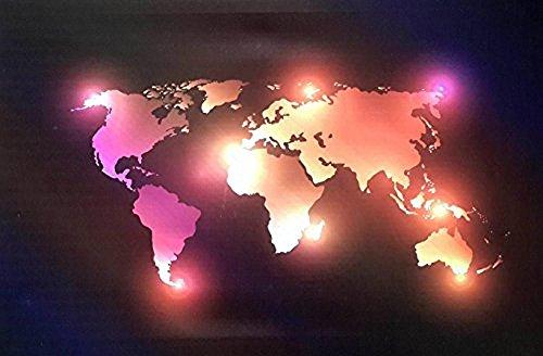 Tinas Collection LED BILD WELTKARTE MIT 8 LED LAMPEN WANDBILD AUS CANVAS