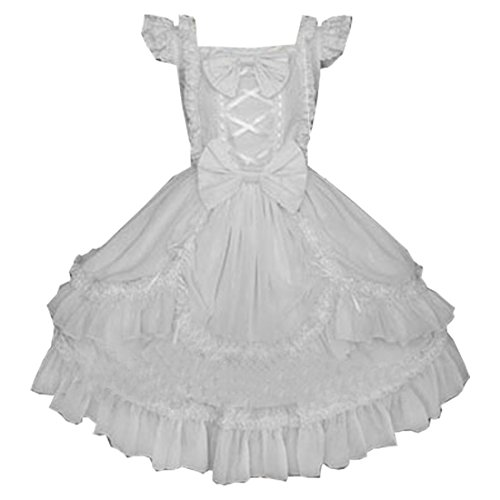 Partiss Robe multi-couches et sans manches Avec nœud Gothique Lolita Noir - White Cap Sleeve
