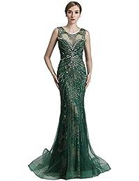 Mermaid Applikation Perlen Lang Tüll Abendkleid Kleider Schulterfrei Kurzarm