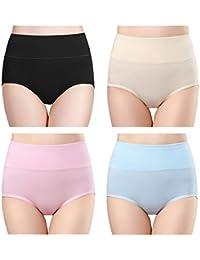 4cf2381a7e5d wirarpa Ladies Underwear Cotton Full Briefs High Waist Knickers Tummy  Control Underwear Panties for Women Multipack