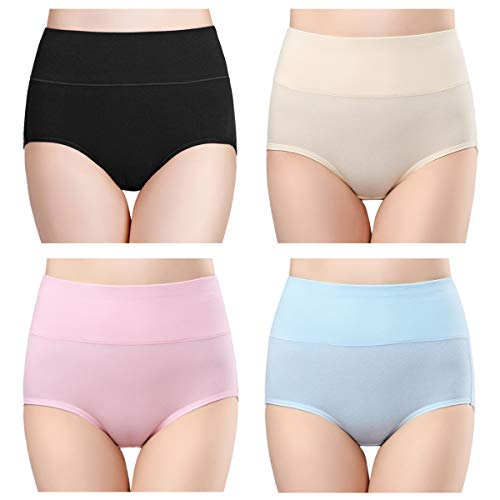 a8e4e26c55a7 wirarpa Women's High Waist Cotton Knickers Soft Briefs Underwear Ladies  Full Panties 4 Pack Assorted Size