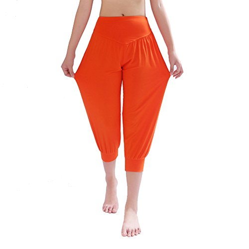 DaoJian Femmes Super Soft Spandex Yoga Bloomers Pants Orange