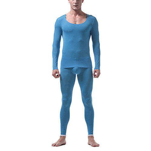 Blau Thermal Long Sleeve Top (Zhuhaitf Herren Thermo Unterwäsche Set Skiunterwäsche langarm Shirt lange Unterhose Translucent Soft Comfortable Thin Ice Silk Non-trace Thermal Underwear Set Long Sleeve Top & Bottom Long Johns)