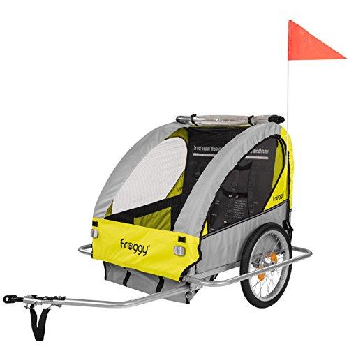 Froggy Kinderfahrradanhänger Fahrradanhänger für 1 oder 2 Kinder mit Universal-Kupplung 5-Punkt Sicherheitsgurte Ablagefach Stahl klappbar Sunny