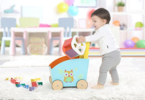 Labebe Andador Bebé, 2-en-1 Uso como Juguete Carrito Bebé, Búho Naranja Carrito Muñeca para Bebés de 1 a 3 Años, Carro Muñeca/Carro Niño/Niña/Carro Gemelar Juguete/Carrito Niño/Niña/Carro Bebé Juguete/Carrito Bebé Reborn