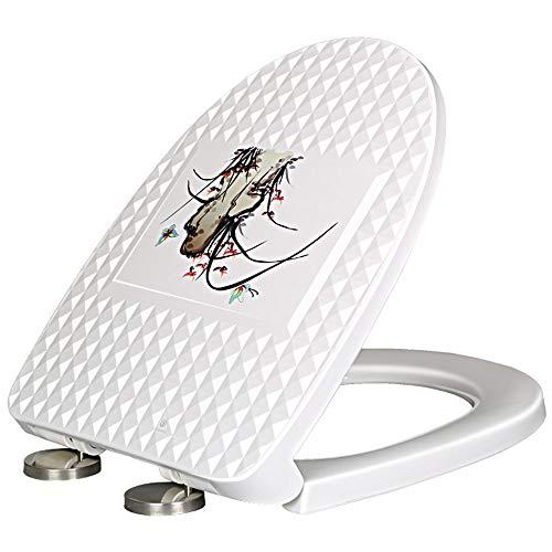 WY-Toilet cover U-förmig , WC-Sitz-Soft-Close-Schnellspanner Weißes Dual-Befestigungssystem - Soft-close Seat-cover