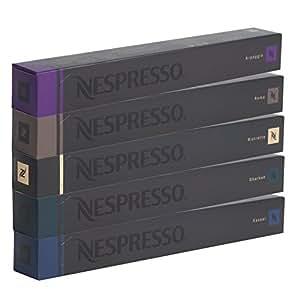 NESPRESSO Capsule Originali Caffè Assortimento, 50 Capsule Originali - 10x Roma 10x Ristretto 10x Kazaar 10x Arpeggio 10x Dharkan