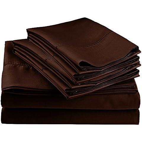 Impressions 600 fili Hem Stitch-Set con federe, in misto cotone, colore: cioccolato, California King