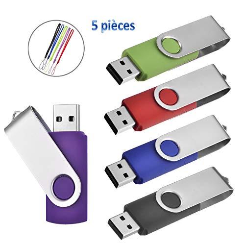 Clé USB 4 Go Lot de 5 USB 2.0 Mémoire Stick Flash Drive Pivotant Stockage U Disque Idee Cadeau (Multi-Couleur Foncées)