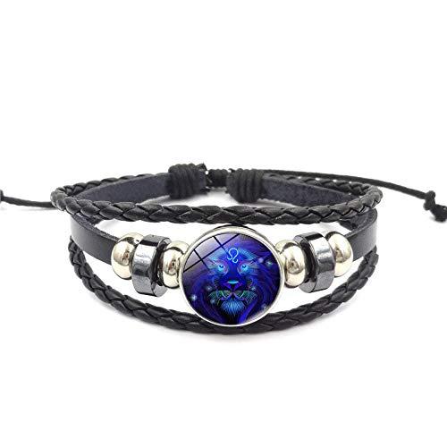 Alwayswin Kreatives Armband 12 Sternbild Sternzeichen Armband Männer Frauen Geflochtene Lederarmbänder Glänzendes Glaskristallgeometrisches Polygonales Armband Damen Schmuck Geschenk -