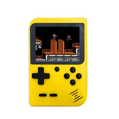 Mini Spielekonsole, 3.0 Zoll HD Bildschirm, Handspielkonsole mit 168 Klassische Spiele, Retro Handheld Simulator, Spielkonsole für Kinder (Gelb)