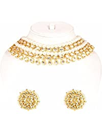 Traditional Gold Plated Kundan & Pearl Made Exclusive Choker Fashion Necklace Set For Women & Girl Jewelry