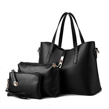 Le donne della moda casual solido Vintage pelle PU Messenger Borsa a tracolla/borse,Beige Black