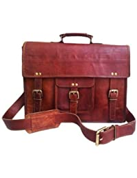 SR Vintage Genuine Vintage Brown Leather Messenger Shoulder Laptop Bag For Upto 15-Inch Laptop