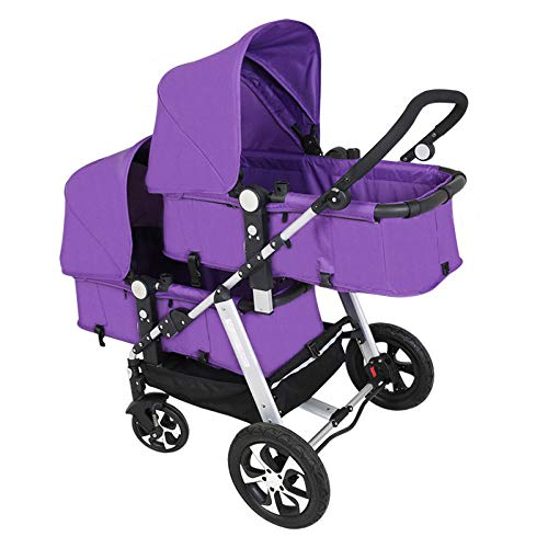 GHH Double Strollers Baby Pram Tandem Buggy Newborn Pushchair Ultra Light Folding Child Shock Absorber Trolley Can Sit Half Lying 0-3 Years Old(Maximum Loadable 50Kg Baby),Purple  CBDFG