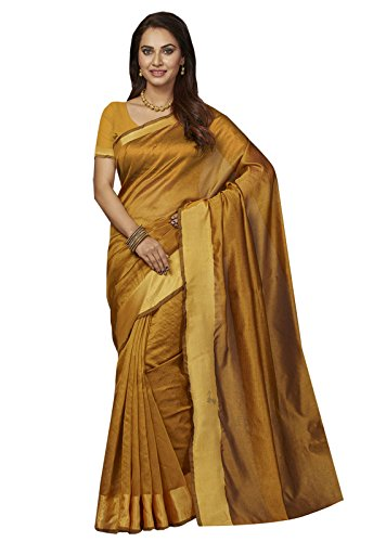 Ishin Poly Silk Gold Party Wear Wedding Wear casual Daily Wear Festive Wear Bollywood New Collection Woven with Zari Border Latest Design Trendy Women's Saree/Sari  available at amazon for Rs.424