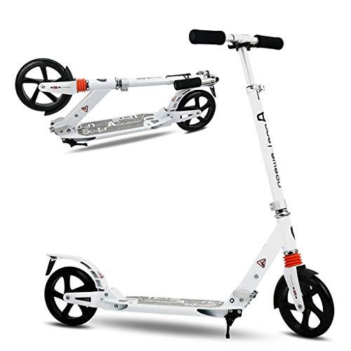 Unbekannt Big Wheel Bold Cushion Tret-Roller mit Stoßdämpfung, Big-Wheel, Cityroller,Tret-Roller für Kinder Teenager Schule Erwachsene bis 80 KG, Weiß