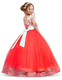 475be48797461 NNJXD Robe brodée de Bal en Tulle de Princesse pour Partie Formelle Longue  Queue Robes