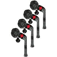 Scott Edward utilidades fundas de cabeza de palo de golf híbridos, 4 piezas Paquete, patrón de rombos, hilo acrílico double-layers de punto, con giratorio número etiquetas, 4 colores opcional (negro)