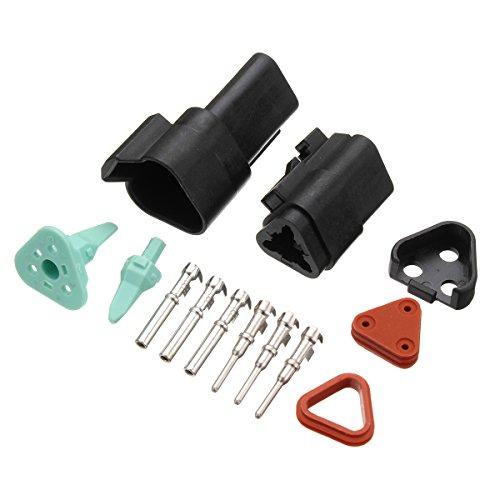 3-polig Kontakt-kit (Tutoy 3-Poliger Deutsch Stecker Stecker Buchse Kit Klemme 16-20 Awg Steckverbinder Solid Kontakte)