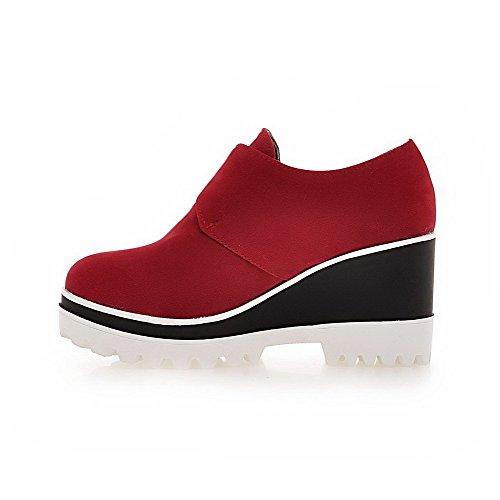 VogueZone009 Femme Dépolissement Rond à Talon Haut Boucle Couleur Unie Chaussures Légeres Rouge