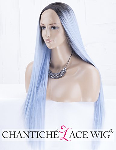 Chantiche Fashion Natural Looking Dark Roots Ombre Blue Wigs for Women Long Straight synthetic Hair Lace Front Wig uk Half Hand Tied Heat Resistant Fiber 24 inches