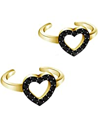 NV Jewels Black American Diamonds Heart Toe Rings (Leg Finger Rings) In 14K Yellow Gold Plated Silver For Women...