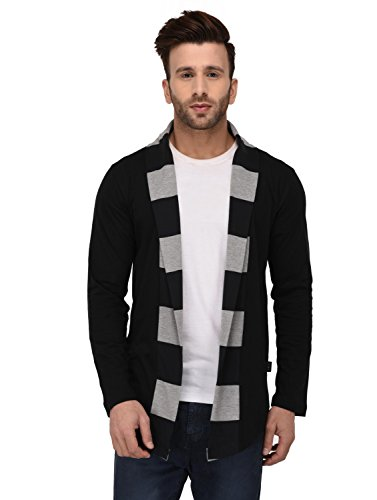 Rigo Black Stripe Collar Open Long Cardigan Full Sleeve Shrug For Men
