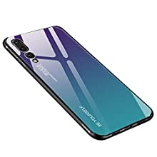 Glass Case fro Huawei P20 Pro Cover, Anti-Scratch Tempered Glass Back Cover + TPU Frame Hybrid Shell Slim Case Silicone Shockproof Cover for Huawei P20 Pro - Purple Blue