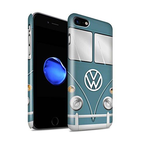 STUFF4 Glanz Snap-On Hülle / Case für Apple iPhone 7 / Maus Grau Muster / Retro T1 Wohnmobil Bus Kollektion Blau Taube