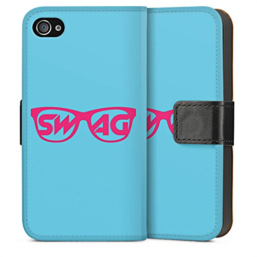 Apple iPhone 4 Housse Étui Silicone Coque Protection Lunettes Swag Hipster Sideflip Sac