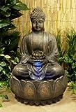 Beleuchteter Buddha-Brunnen mit Blüte