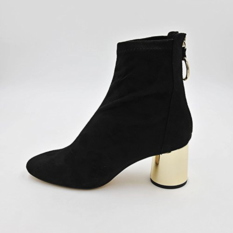 yalanshop zipper l'arrière zipper yalanshop tête ronde, zip couleur métallique des bottes à talons satin stretch des bottes noires, 39 f612e1