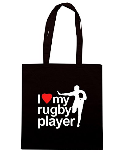 T-Shirtshock - Borsa Shopping TRUG0110 i love my rugby player tshirt logo Nero
