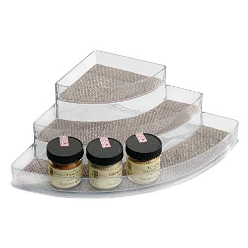 iDesign Twillo Eck-Gewürzboard mit 3 Ablagefächern, 25,5 x 35,5 x 10,3 cm, metallic, Kunststoff - Lazy Susans Ecke Schränke