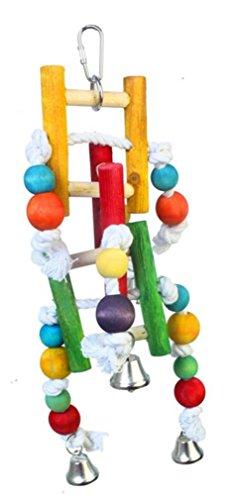 Natürliche Holz Papagei Spielzeug Vogel Spielzeug Spielzeug Metall Haken Baumwoll Seil langlebig kauen ungiftig Station Swing Medium Large Papagei Spielzeug kauen -
