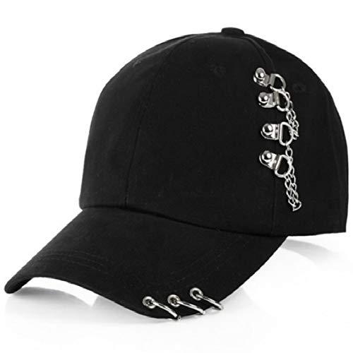 WBSNA Eisenring-Baseballmützen für Männer Korean Hip Hop Fashion Hat The Rapper Women Cap Adjustable,Black (Korean Mode Für Männer Bekleidung)