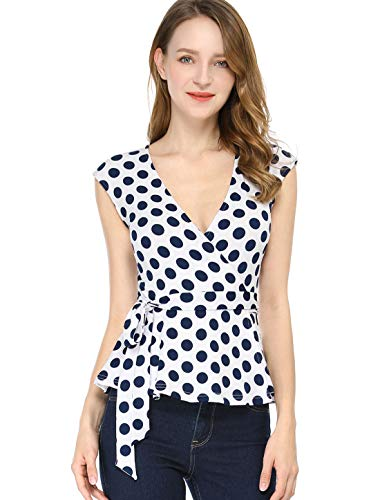 Allegra K Damen Ärmellos V Neck Wrap Polka Dots Top Bluse Weiß XS (EU 34)