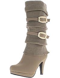 Botas de mujer negra en los talones de 11,5 cm y 2,5 cm de la placa de baja - 39
