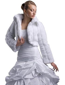 Chaqueta bolero vestido de novia, chaqueta para novia, imitación de visón, hasta 3XL–E20