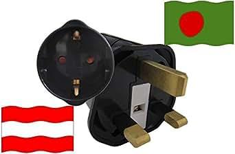 Urlaubs Reiseadapter Bangladesch für Geräte aus Österreich Kindersicherung und Schutzkontakt 250 V