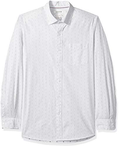 Goodthreads Herren Regular Fit Dobby-Hemd mit langen Ärmeln, Schwarz (Black Stripe Dot Str), Medium - Dobby Dot