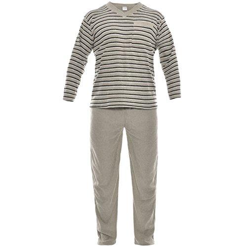 Herren Pyjama 2 Teilig Schlafanzug Hausanzug T-Shirt Hose Lang-Arm 21245 Braun