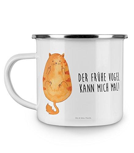 Mr. & Mrs. Panda Emaille Tasse Katze Frühaufsteher - 100% handmade in Norddeutschland - Der frühe Vogel kann mich mal, Morgenmuffel, Frühaufsteher, Kaffee, Katzen, Katze, Kater, Mietze Emaille Tasse, Metalltasse, Kaffeetasse, Tasse, Becher, Kaffeebecher, Camping, Campingbecher