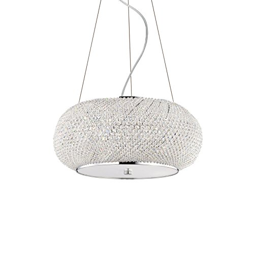 L'Aquila Design Arredamenti Ideal Lux Lampe à Suspension Pasha SP6 Couleur Chrome et Monture en métal