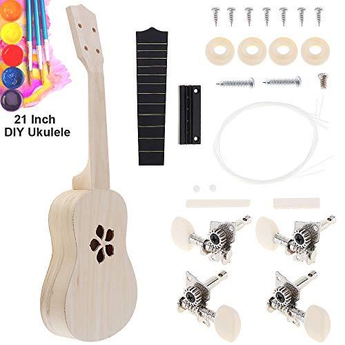 OriGlam kit fai da te per ukulele Hawaii, kit per realizzare il proprio ukulele, set di 4 corde in legno di tiglio, kit di ukulele hawaiano, ukulele da concerto, per principianti, per bambini