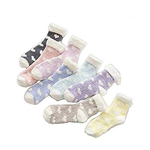 TOPFAY Mullidas Novia Diseño Calcetines Gruesa Coral Hot Girls Seis Pares de Calcetines para Dormir en el Suelo con el corazón patrón en Forma de Color al Azar
