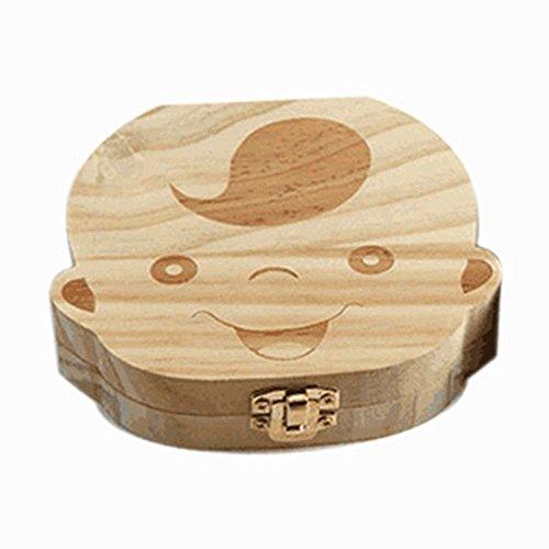 Delmkin Milchzahndose Süße Milchzahnbox aus Holz - für Baby Jungen und Baby Mädchen (Baby Jungen)