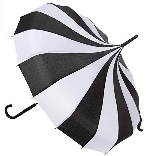 Sourpuss - ombrello pagoda, colore: nero/bianco