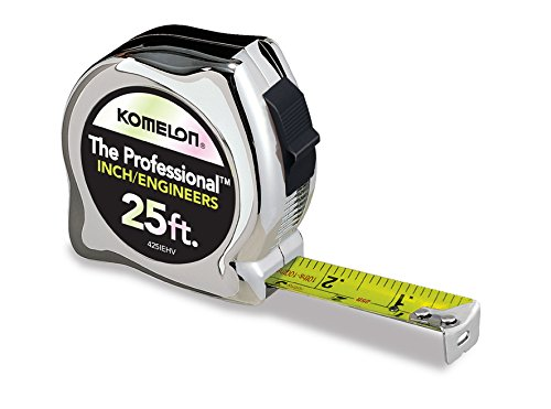 Komelon 425IEHV High-Visibility Professional Tape Measure Bother Inch and Engineer Scale Printed 25-Feet by 1-Inch, Chrome by Komelon (Ft Maßband Komelon 25)